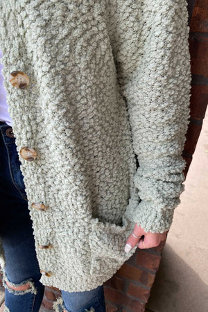 Popcorn Button Cardigan - Sage
