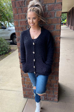 Popcorn Button Cardigan - Black