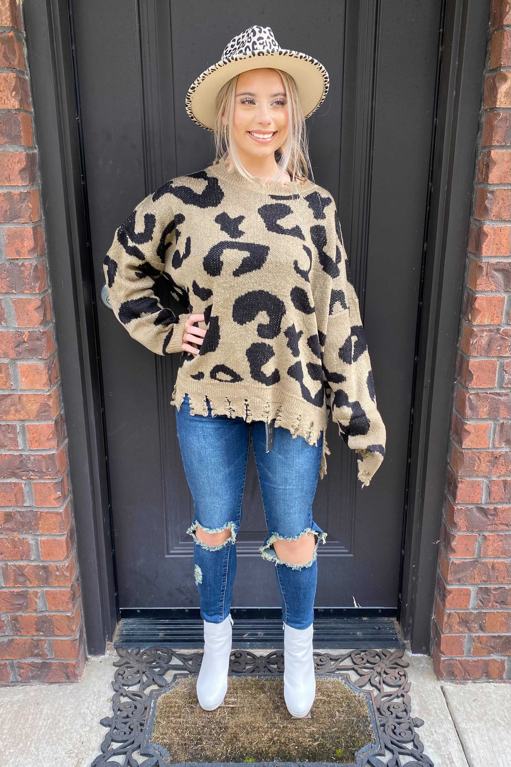 Oversized Leo Distressed Sweater