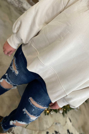 Cream Balloon Sleeve Sweatshirt