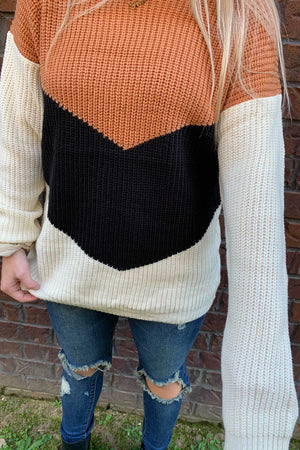 Triple Chocolate V Block Sweater