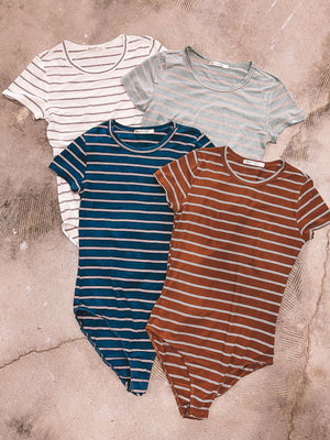 Crew Neck Striped Bodysuit - Terracotta