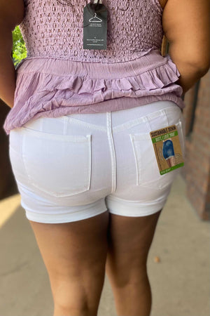 White Denim Shorts - Curvy
