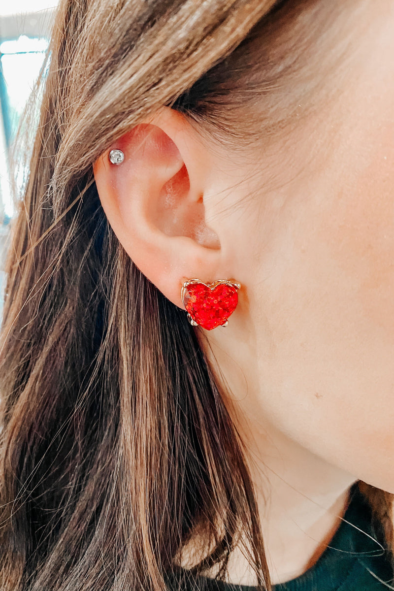 Full Heart Earrings- Red