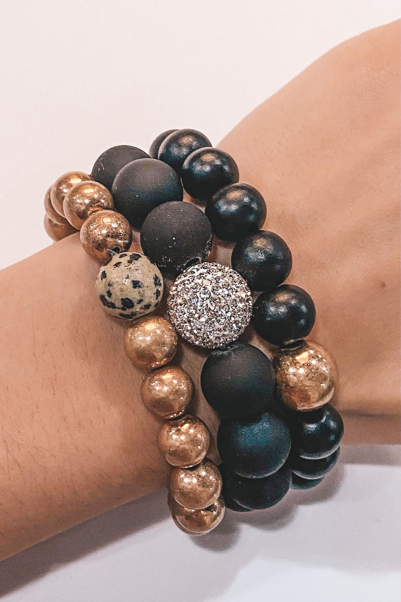 Bold In Black Stackable Bracelets