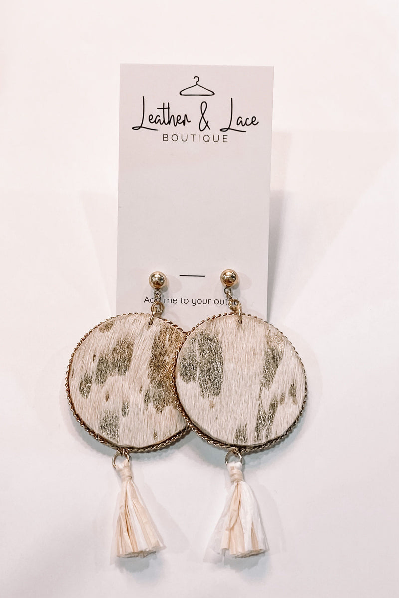 Gold Faux Leather Earrings
