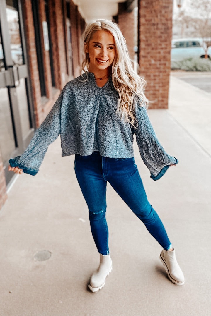 Bell Sleeve Babe Sweater - Blue