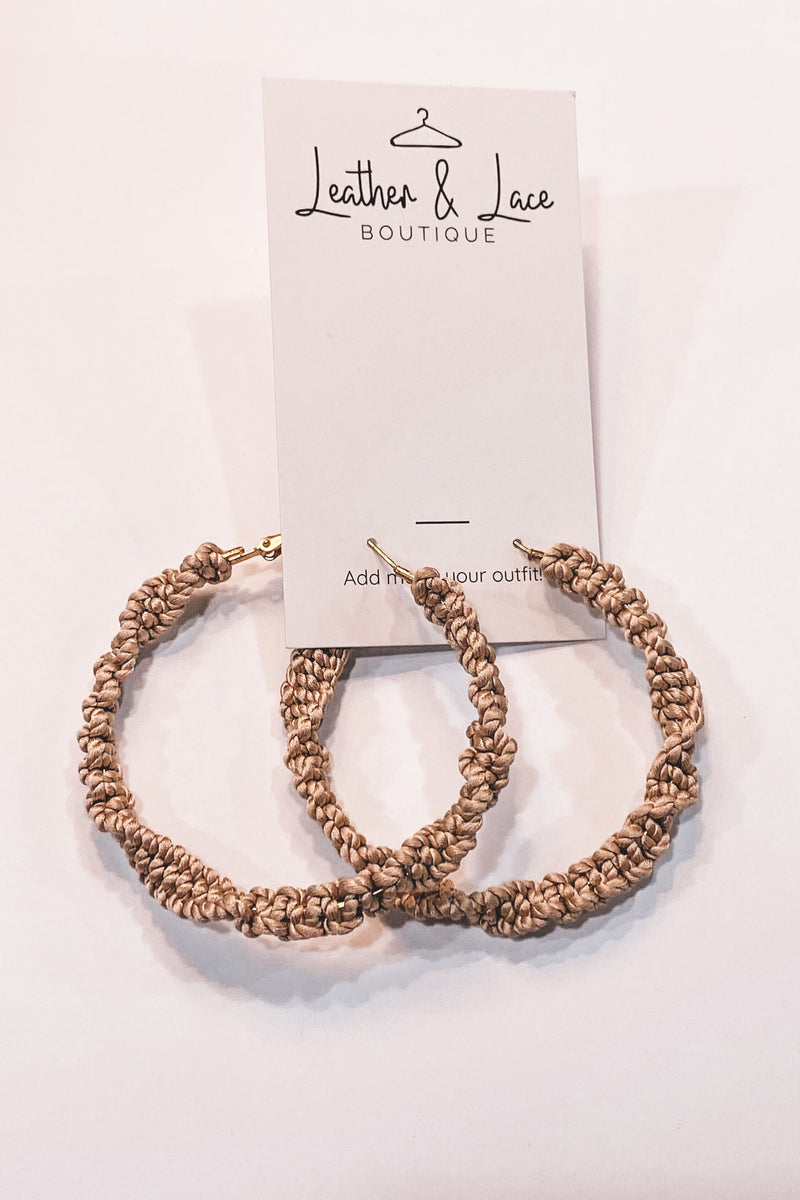 Beige Twisted Hoops