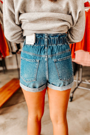 Paper Bag Shorts- Medium Wash