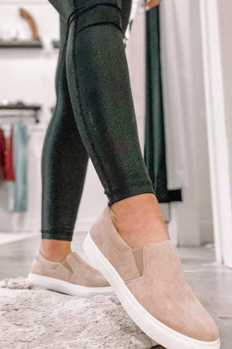 Tan Suede Slip On Sneaks