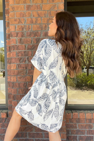 V-Neck Leafy Dress