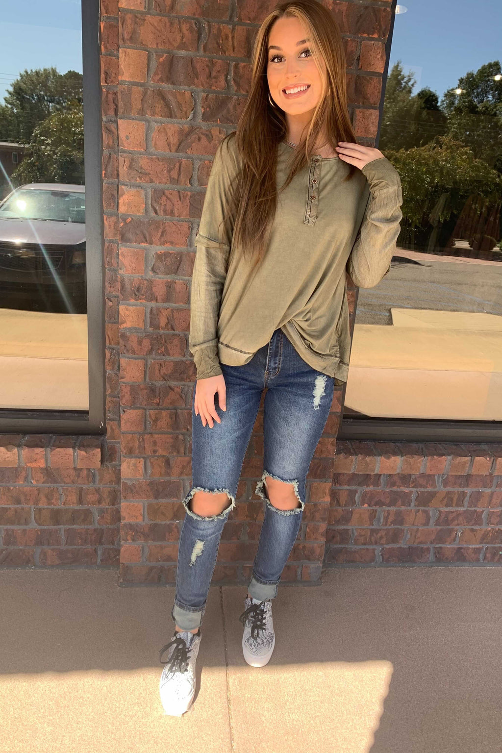 Olive Henley Top