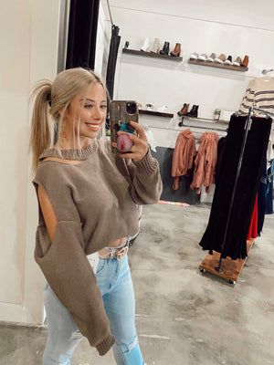 Mocha Distressed Shoulder Sweater