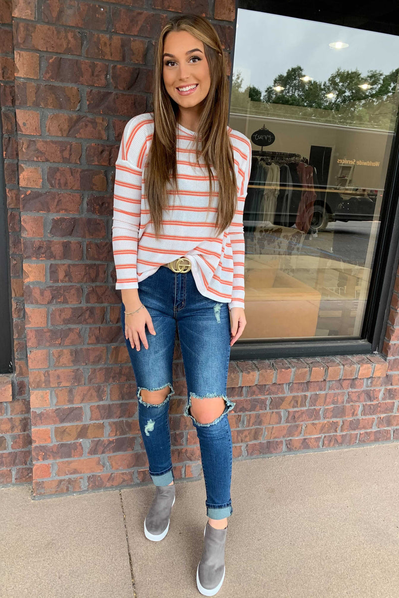 Pumpkin Striped Top