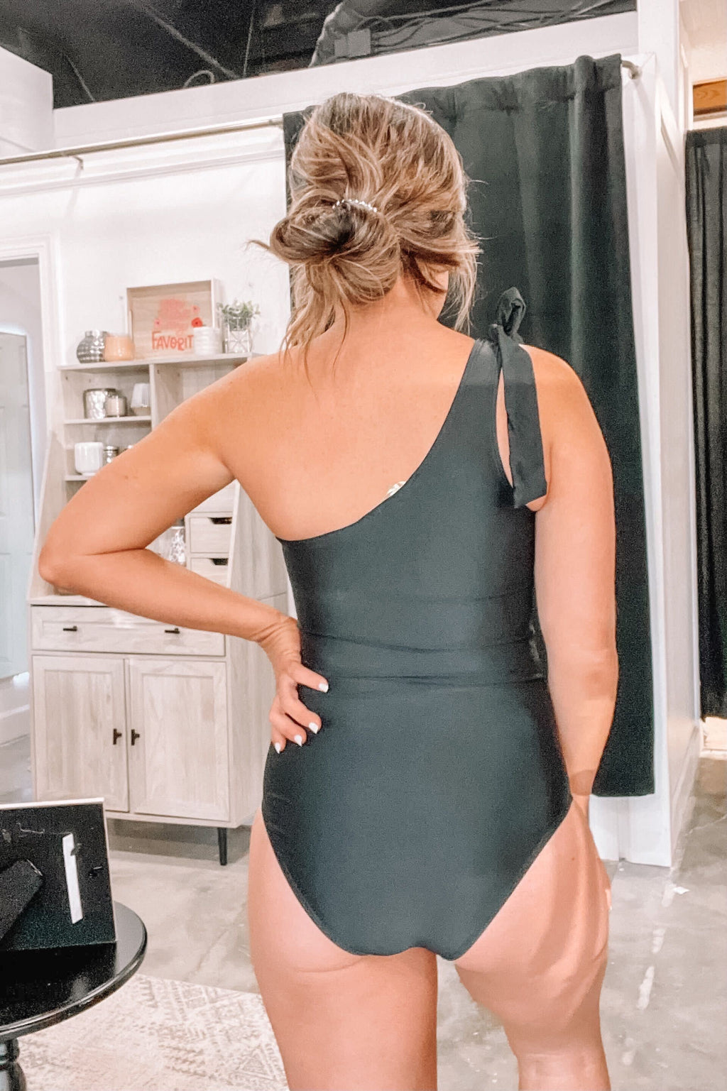 One Shoulder All Black One Piece