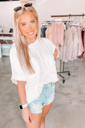 Crinkle Button Down Top- White