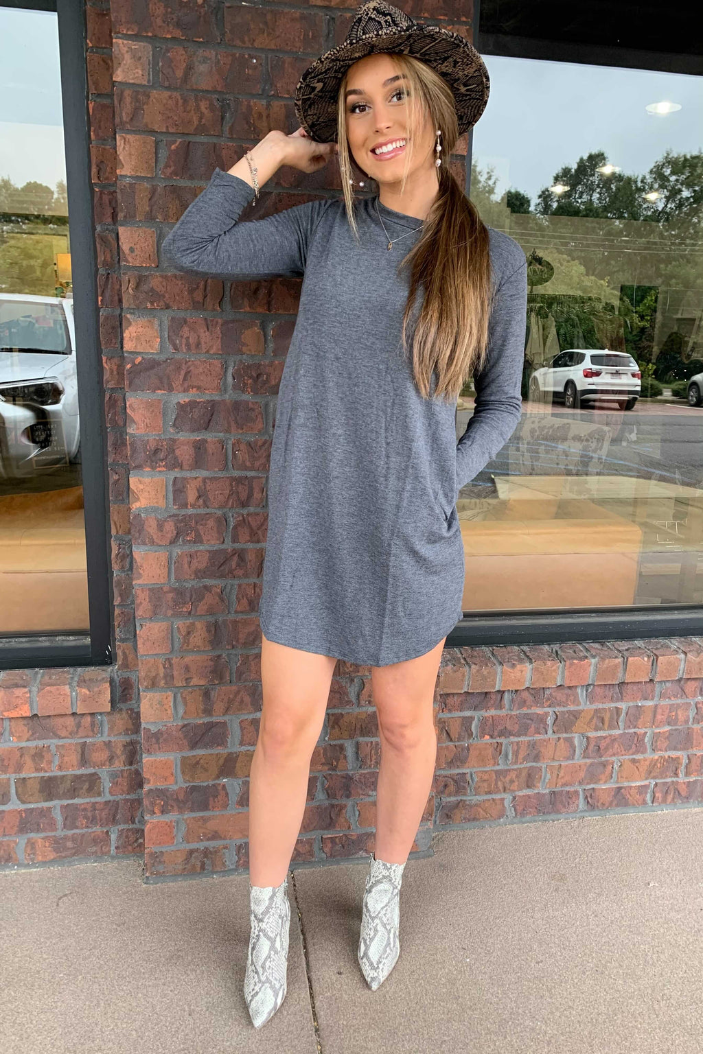 Fall For Me Sweater Dress - Charcoal