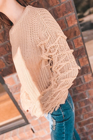 Caramel Fringe Sleeve Sweater