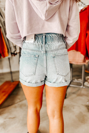 Paper Bag Shorts- Light Wash