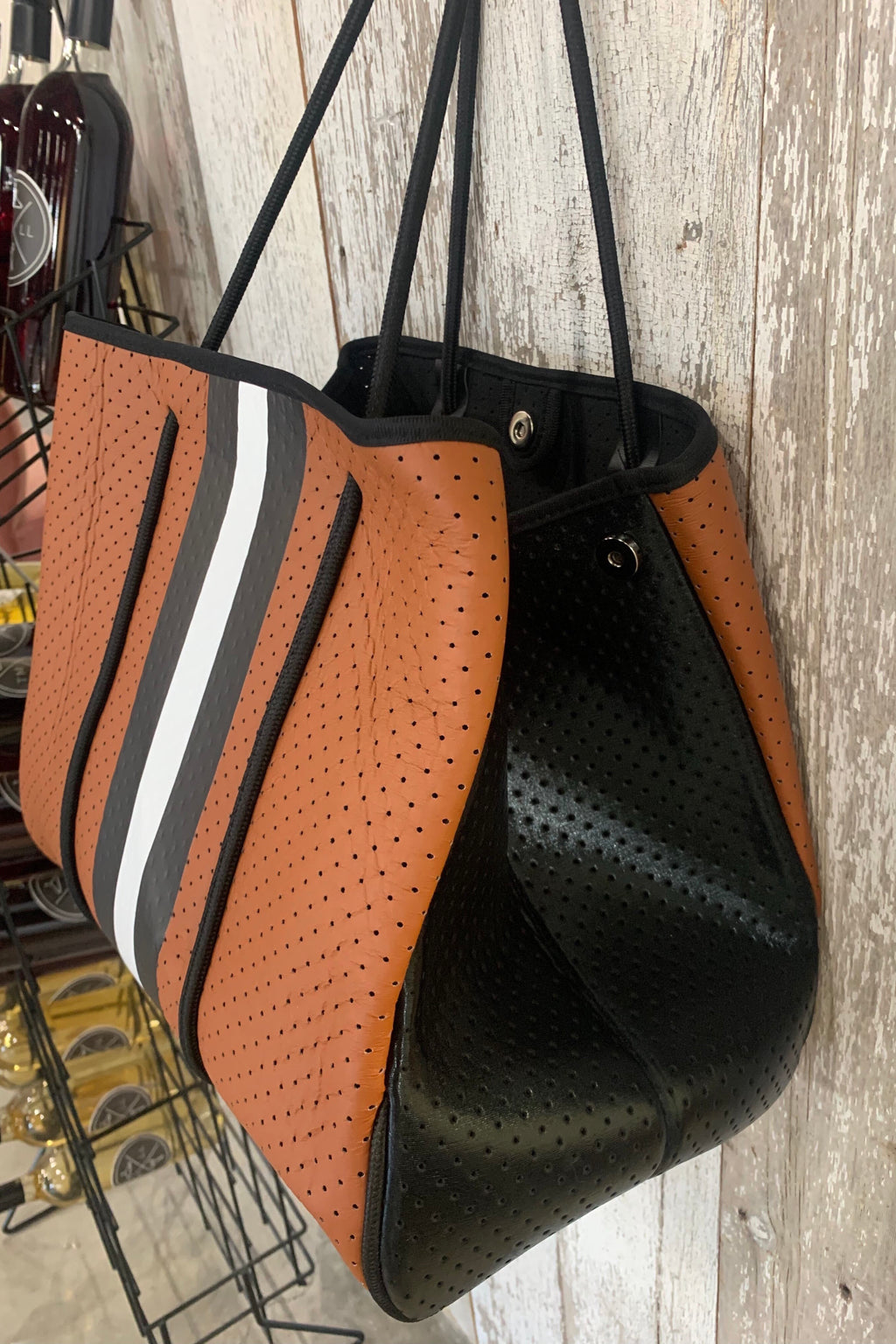The Miami Bag- Camel Stripe