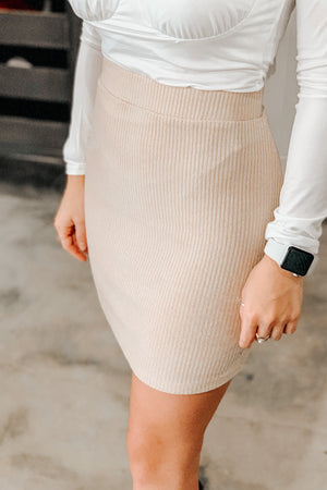Ribbed Knit Skirt - Sand