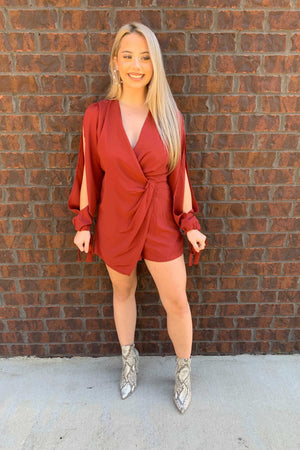 Dolled Up Romper Dress - Rust
