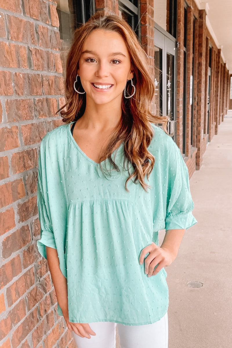 Swiss Dot Half Sleeve Top - Sage