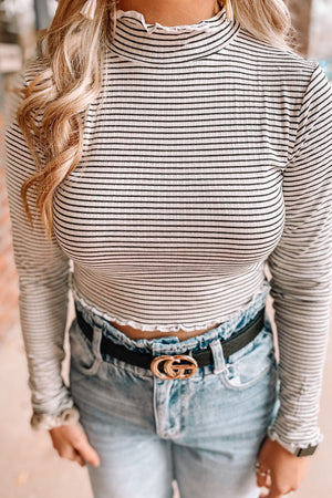 Classic Ribbed Crop - Stripes