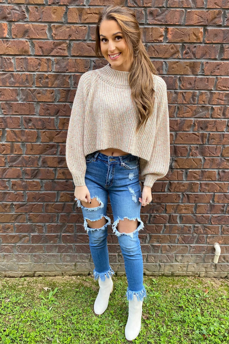 Cue the Confetti Crop Sweater - Cream