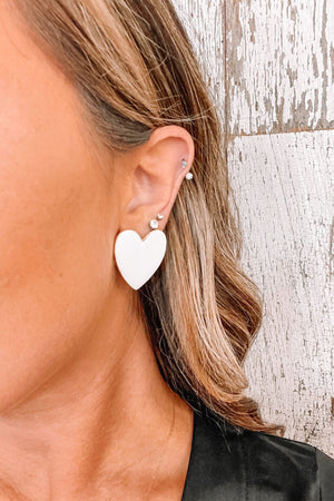 Full Heart Earrings- White