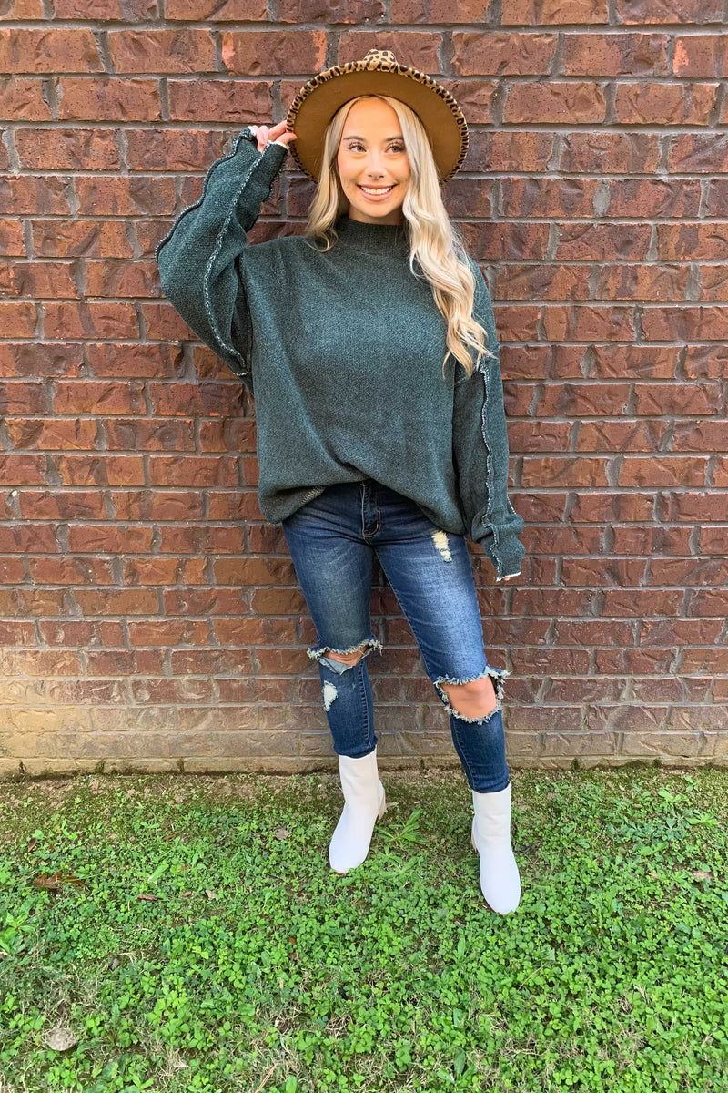 Stay Cozy Chenille Sweatshirt - Hunter Green