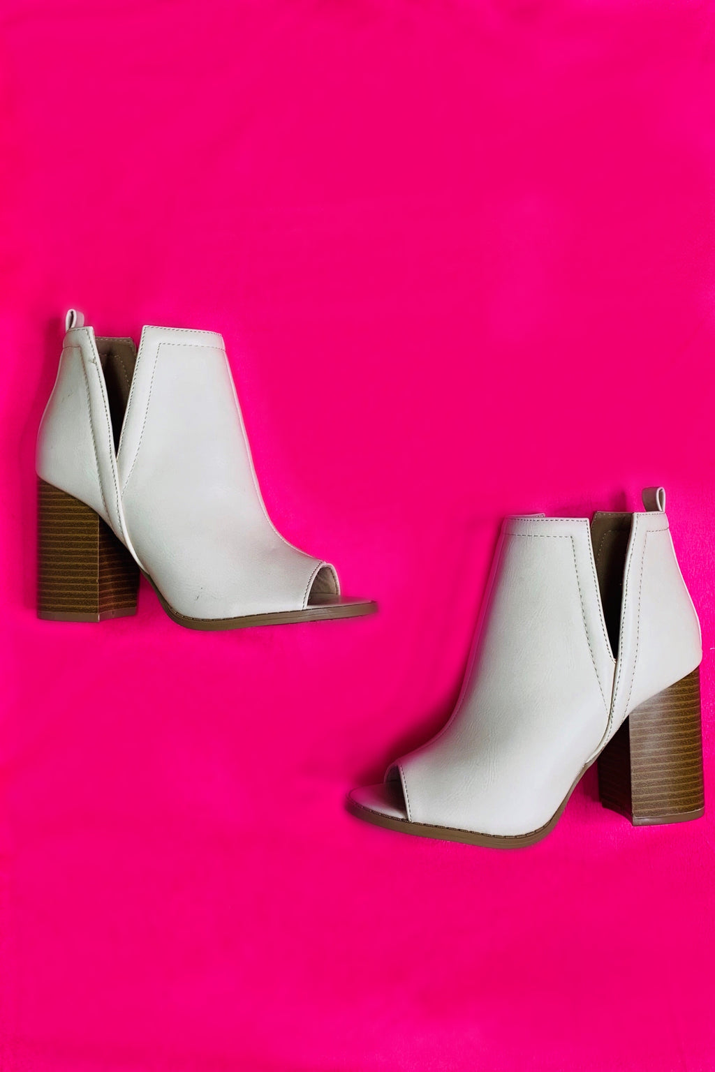 White Peep Toe Booties