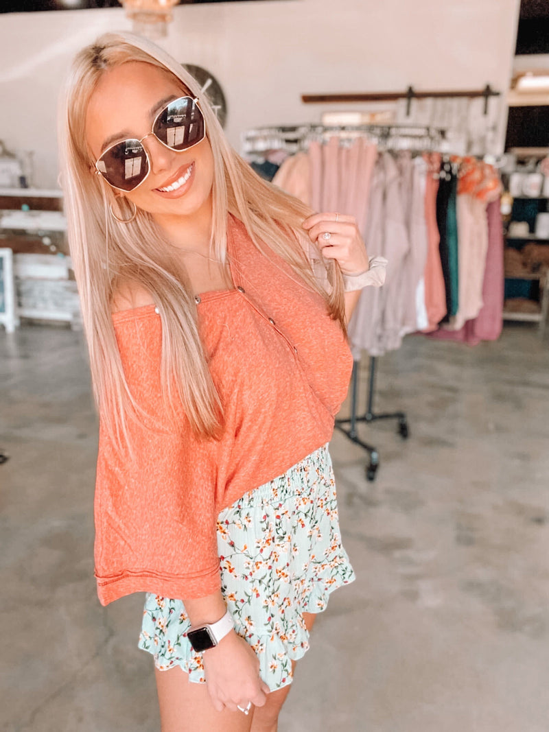Coral Buttoned Henley