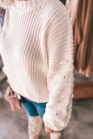 White Bubble Sleeve Knit Sweater