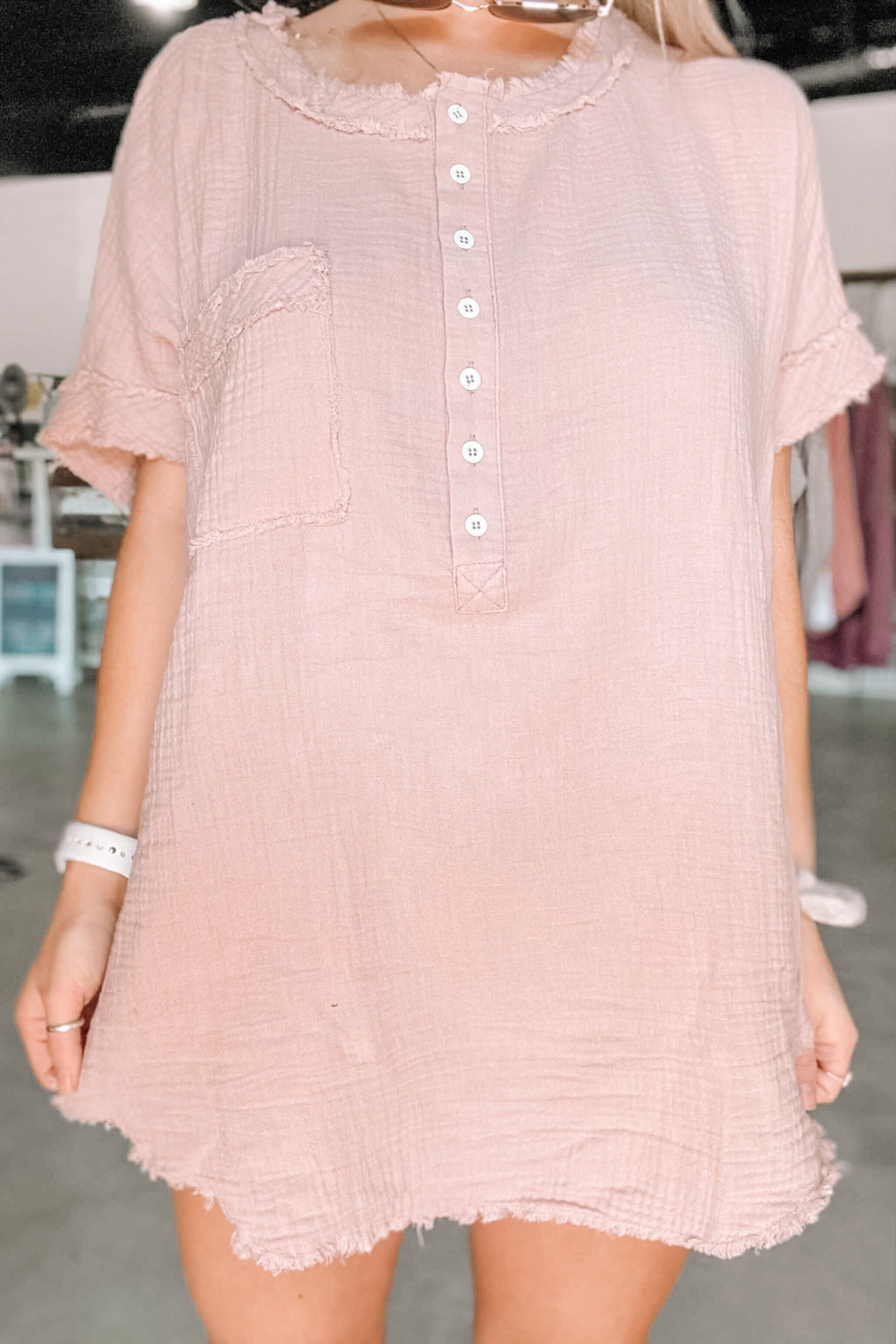 Crinkle Button Down Top- Blush