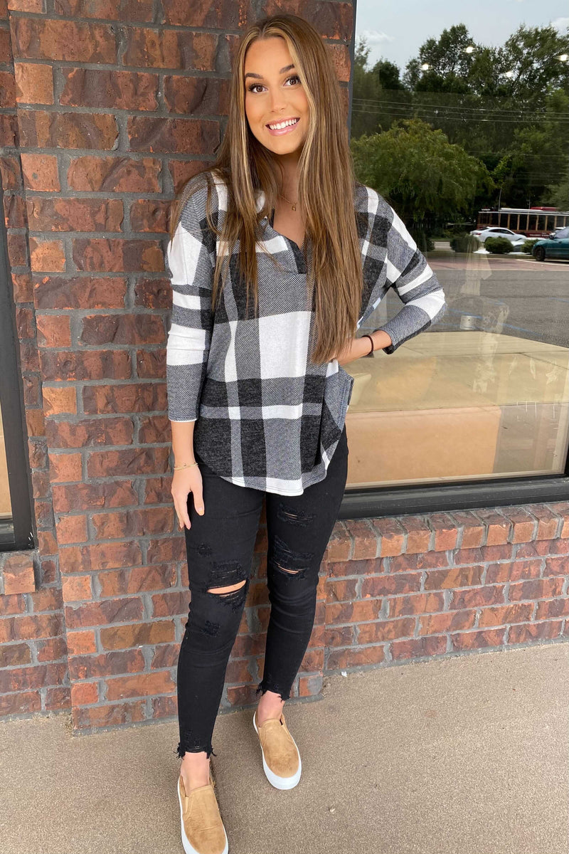 Oversized Plaid Pullover