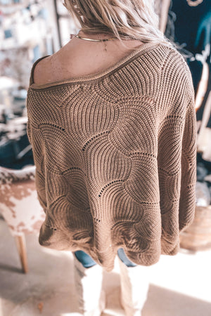 Mocha Scalloped Knit Sweater