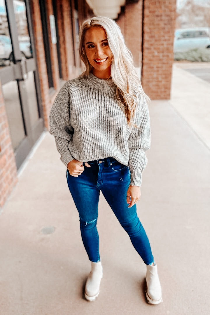 Heather Grey Mock Neck Sweater