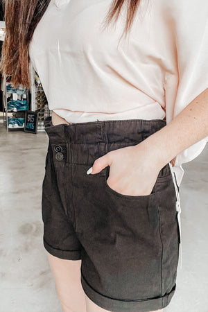 Black Paper Bag Shorts