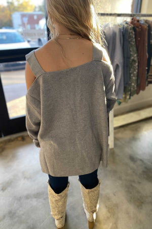 Ribbed Off The Shoulder Sweater-Grey
