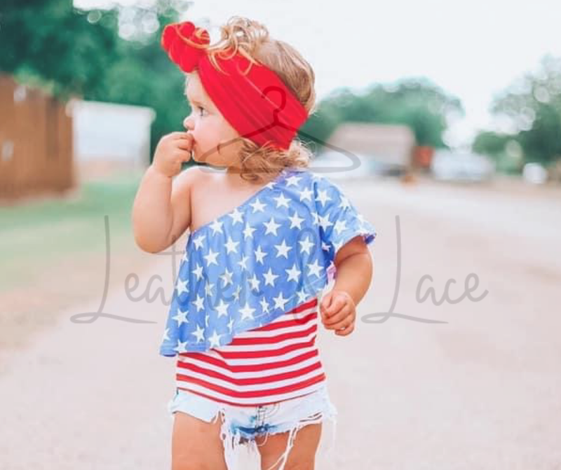 Red White & Blue One Shoulder Kids