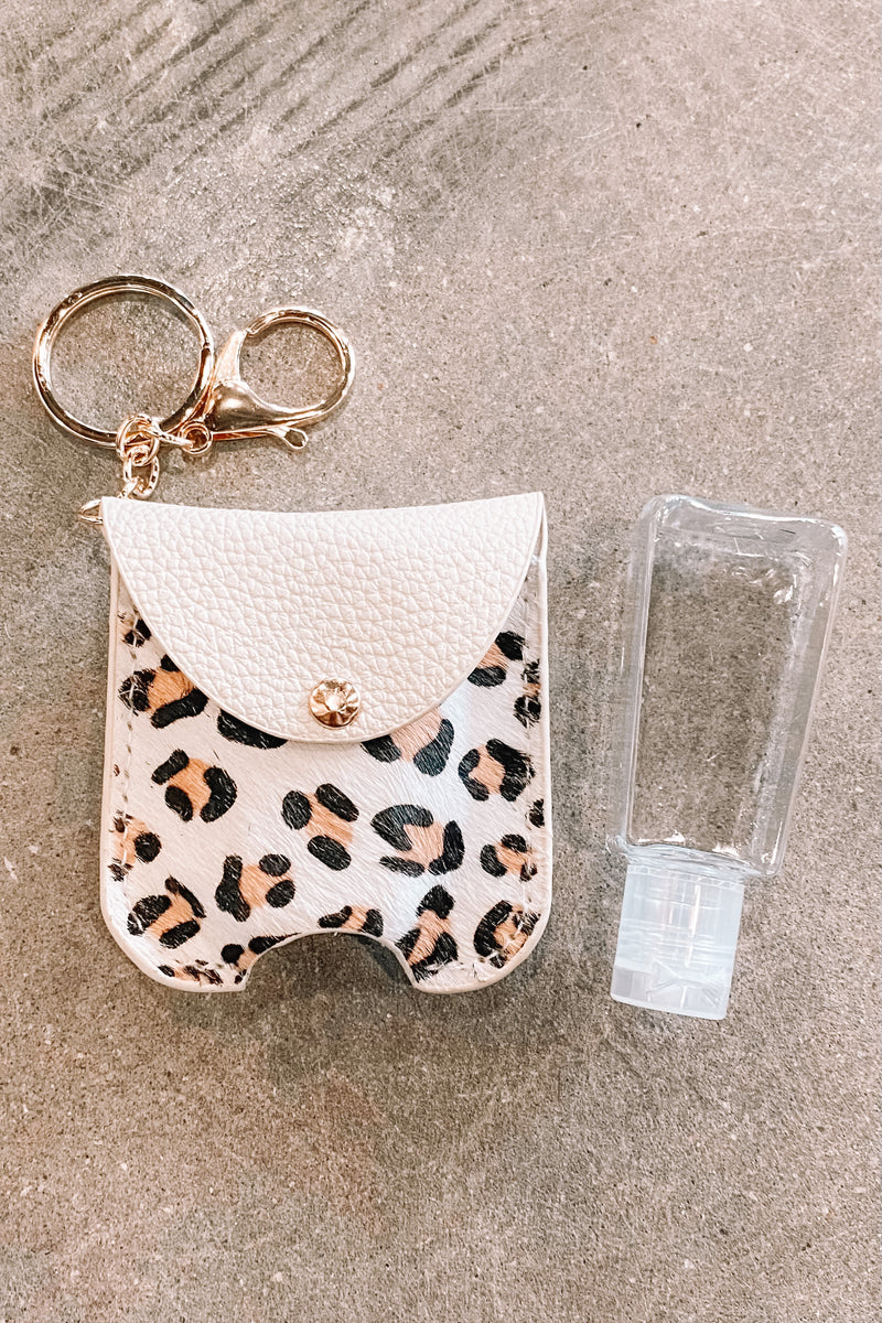 Faux Animal Print Sanitizer Case- White Leo