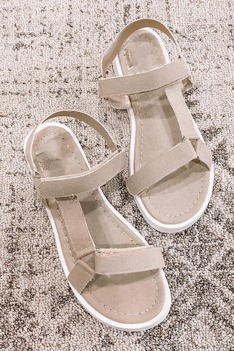 Natural Canvas Velcro Sandals