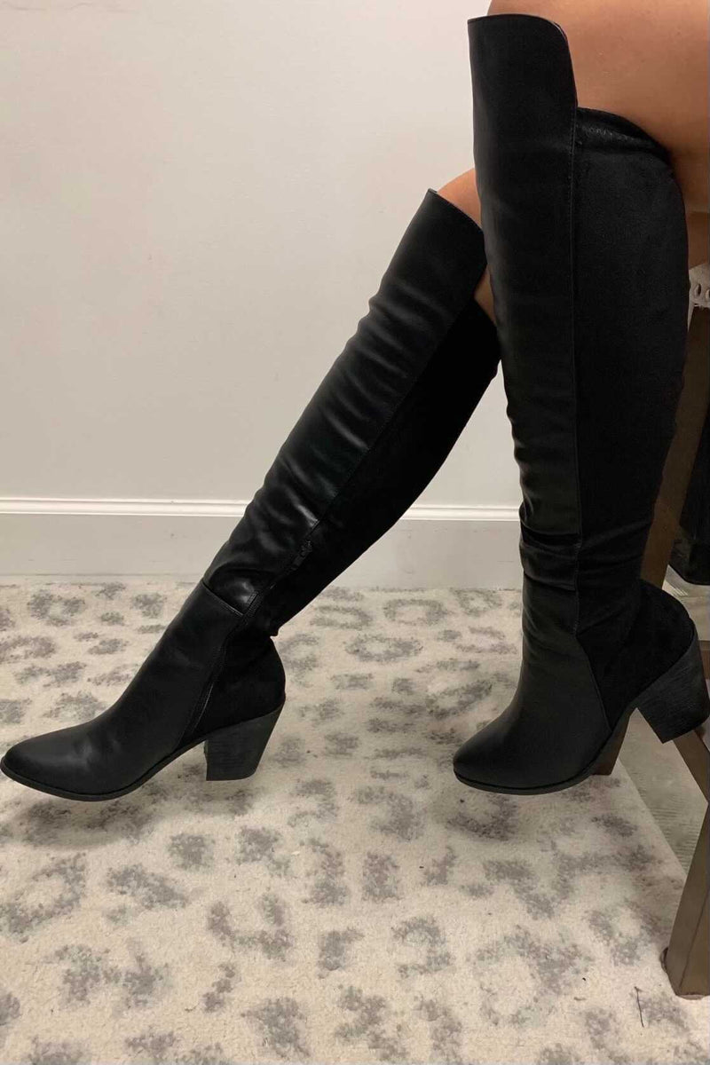 Midnight Rider Knee High Boots - Black