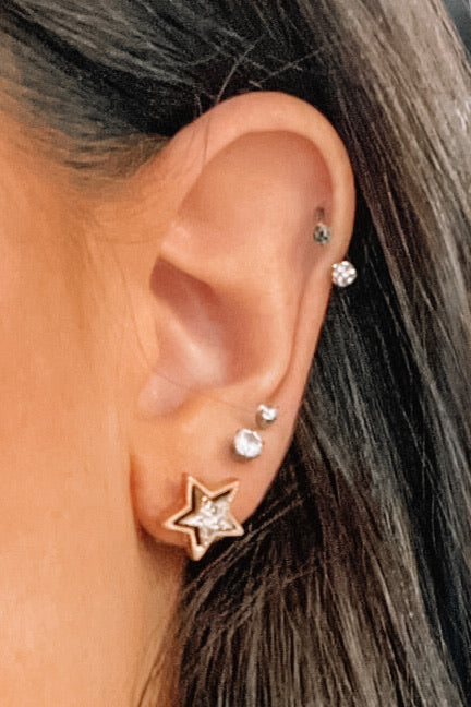 Drusy Star Earrings- Gold