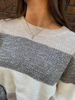 Color Block Popcorn Sweater - Grey