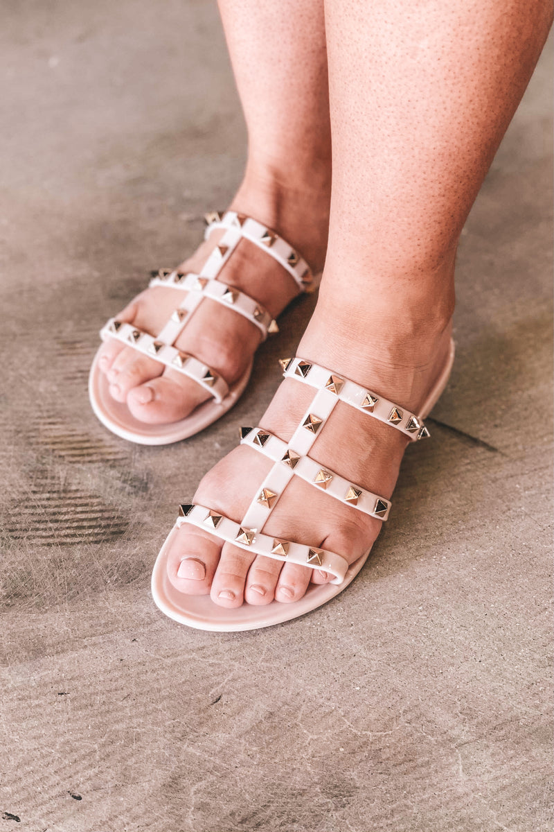 Gold Studded Sandals - Natural