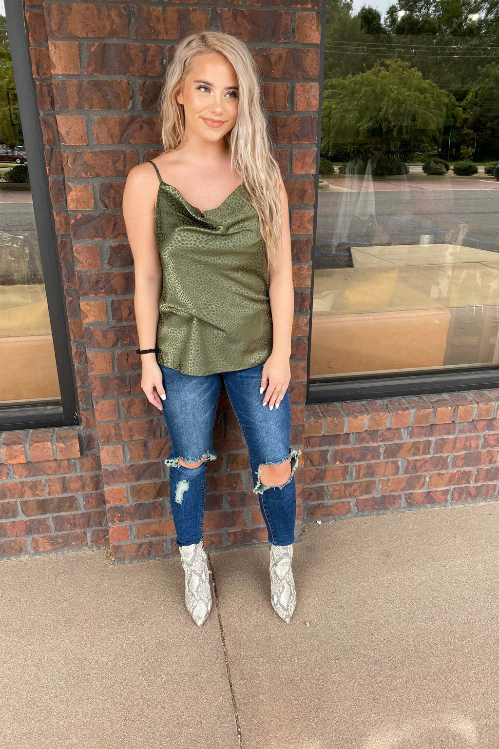 Muted Leo Silk Tank - Olive
