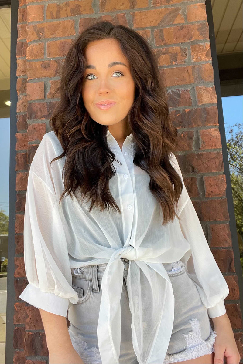 Chiffon Button-Up Tie Shirt-White