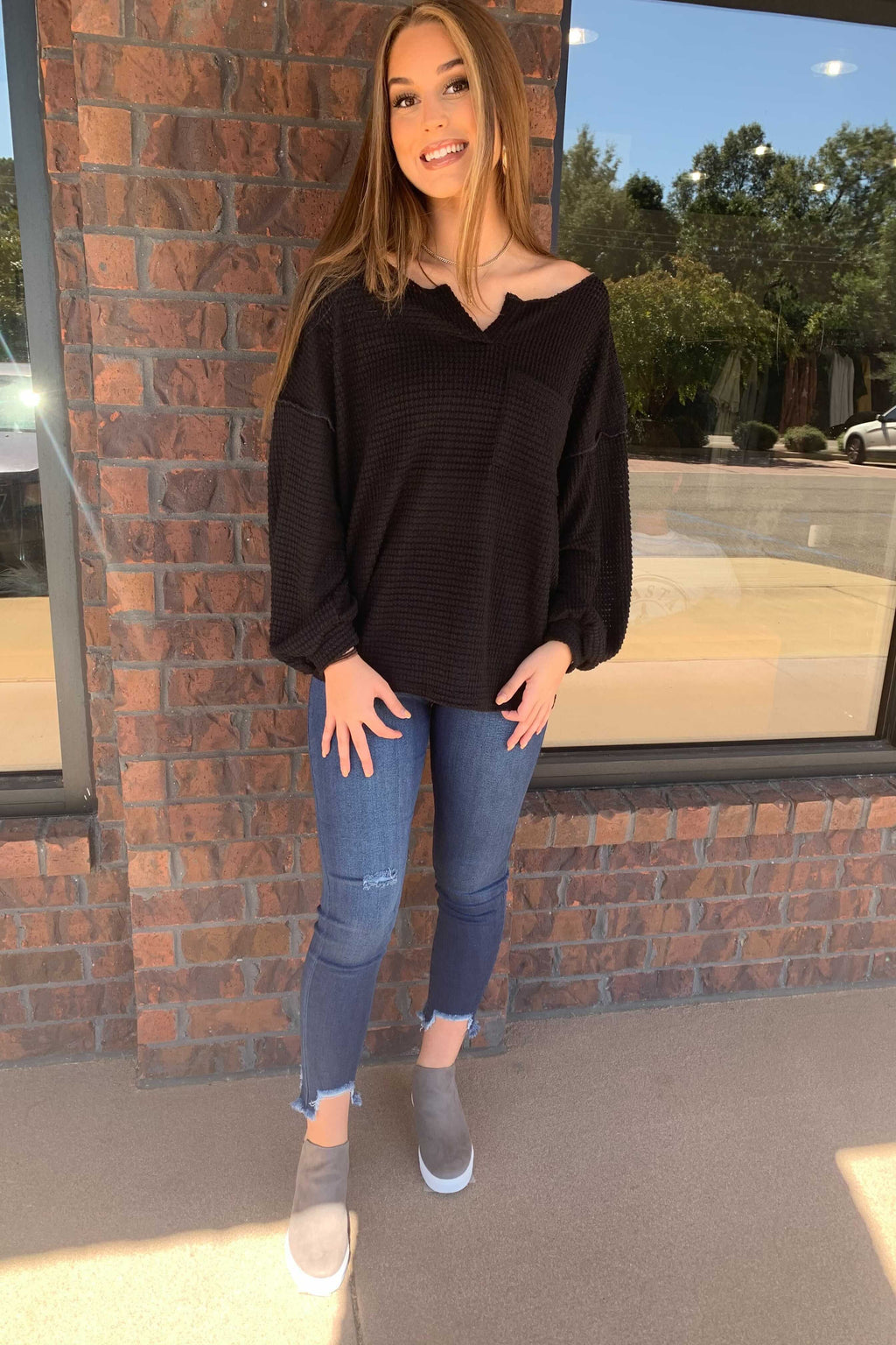 Popcorn Pocket Top - Black